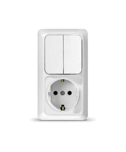 Блок О/У выключатель 2 кл+розетка/вертик.(О0040)