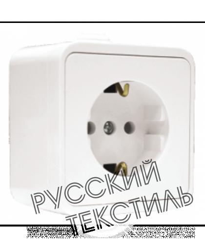 """O0028 Розетка одномест. серия """"Олимп"""" с/з,о/у,16А, 220В, белая"""