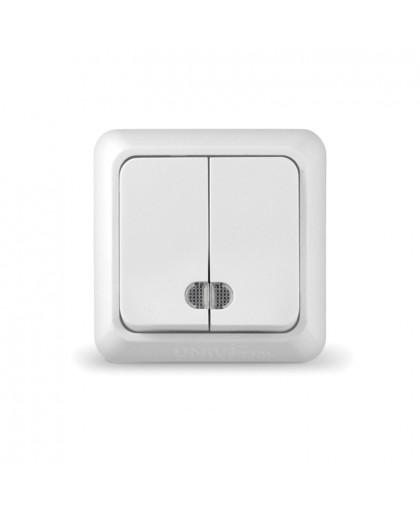 """O0123 Выключатель двухклавишный с подсветкой серия """"Олимп"""", о/у, 10А, 220В белый"""