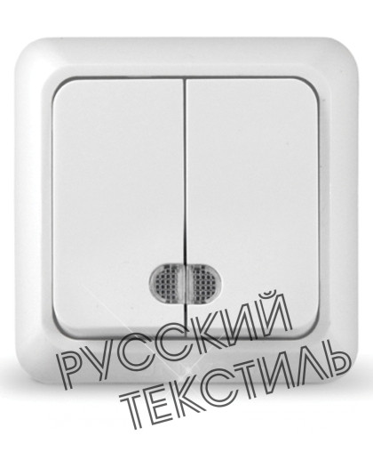 """O0023 Выключатель двухклавишный серия """"Олимп"""", о/у, 10А, 220В белый"""