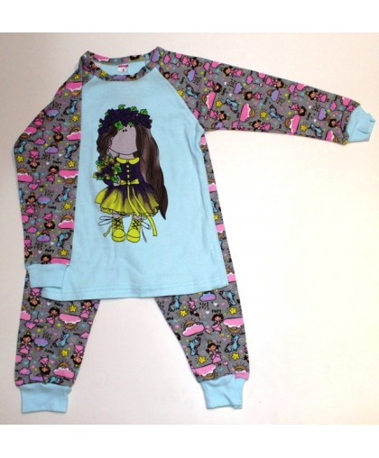 "11-148129 ""WATERCOLOUR"" Пижама, интерлок, 1-4 года, голубой"