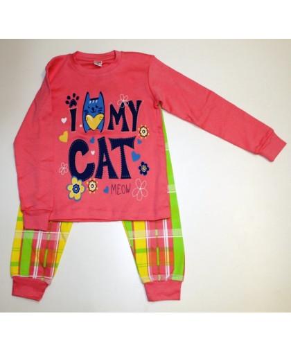 """11-588213 """"My Cat"""" Комплект домашний для девочек, 5-8 лет, персиковый\клетка"""