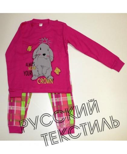 """11-588216 """"Crown"""" Комплект домашний для девочек, 5-8 лет, фуския\клетка"""